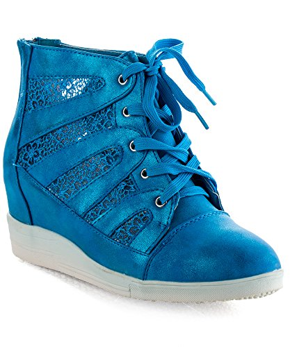 ROF Vegan Women's Lace Up Floral Mesh Lace Hidden Wedge Sneakers BLUE (5.5)