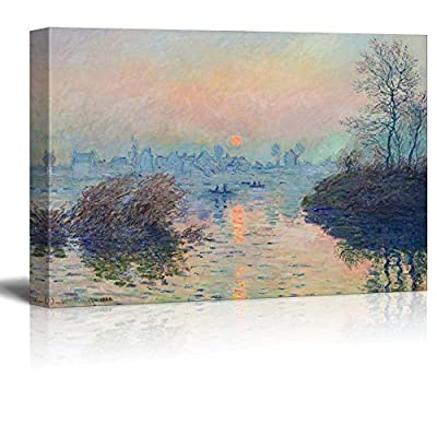 Premium Creation, Handsome Artisanship, Sun Setting Over The Seine at Lavacourt Winter Effect by Claude Monet Impressionist Art