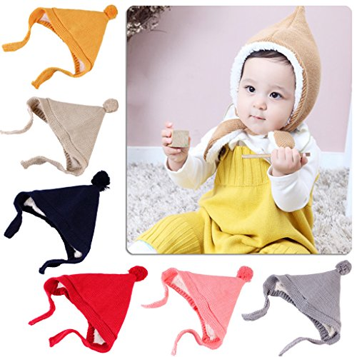 EA-STONE Baby Girls Boys Earflap Hat, Wool Blend Beanie Hat For Baby Photography Props (Black) (Wool Beanie Earflap)