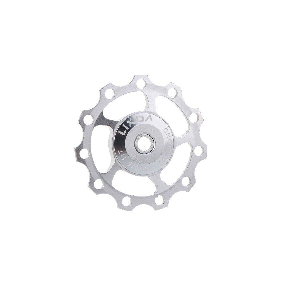 Lixada MTB Bicicleta de Montaña Bici de camino Cambio Trasero 7075 Aleación de aluminio Guía 11T Rodillo polea loca Jockey Rueda de accesorios Parte