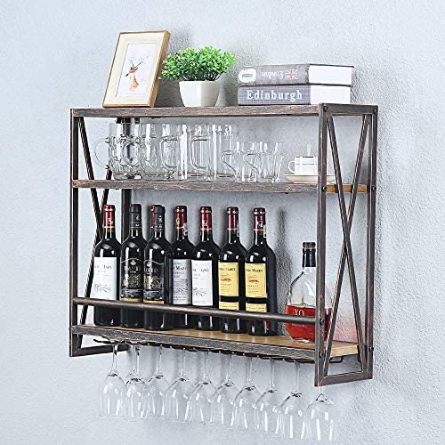 Industrial Hanging Wine Rack Wall Mounted 31 5in Floating Wine Shelf With 8 Stem Glass Holder Rustic Wine Glass Rack Metal Wine Glass Shelf 3 Tiers Floating Wine Shelves Wine Glass Shelves Bronze Kitchen Dining Amazon Com