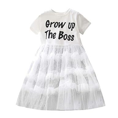 YpingLonk Vestido Elegante de Princesa Niña Letra Pastel ...