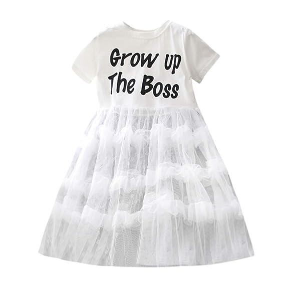 Vestido de Tul para Niña Verano K-Youth Niños Ropa Bebe Niña Vestidos Carta con Manga Corta Recién Nacido Chicas Tutu Princesa Vestido de Fiesta Niñas: ...