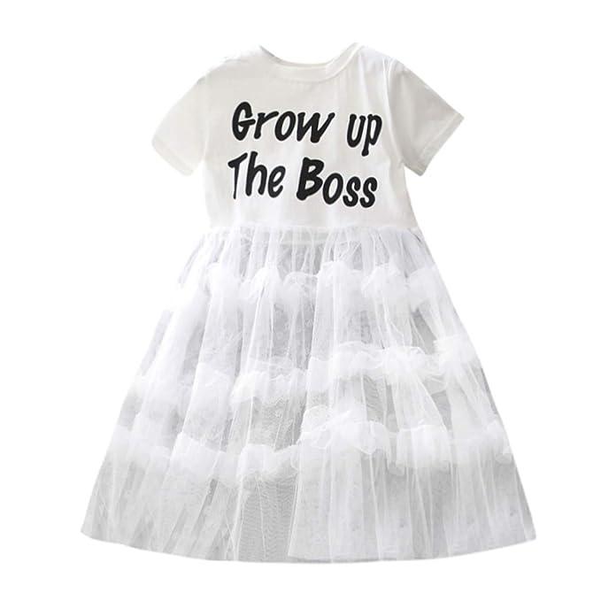 YpingLonk Vestido Elegante de Princesa Niña Letra Pastel Cumpleaños Fiesta Vestir Falda Moda Traje de Ceremonia Malla Elegantes Cumpleaños Fiesta Vestir: ...