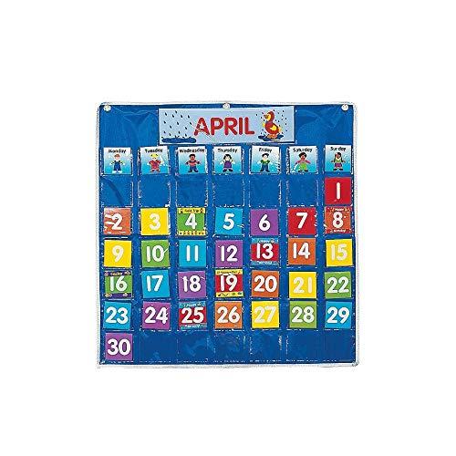 Nylon Classroom Calendar Pocket Chart by Fun - Monthly Chart Pocket Calendar