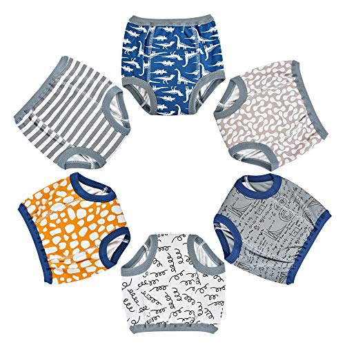 Funkprofi Toddler Boys Potty Cotton Pee Training Pants, Soft Absorbent Waterproof Breathable Baby Training Underwear, Washable Reusable Durable Potty Training Pants with Elastic Waistline, 6 Pack (3T)