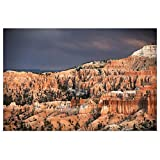 greatBIGcanvas Poster Print Entitled Sunlight Illuminating The red Striped hoodoos in Bryce Canyon Amphitheater, Utah Circle Capture 30''x20''