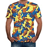 Summer T-Shirts for Men, Kirbaez Men's Short Sleeve Slim Fit Casual Camouflage Printed Personality Tops Blouse