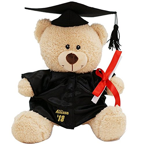"GiftsForYouNow Personalized Graduation Teddy Bear Gift with Name and Graduation Year Sewn on Graduation Gown – 11"" ()"