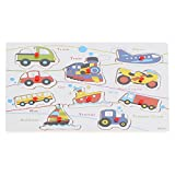 Wooden Vehicles Peg Puzzle for Babies and Toddlers (10 Pieces) - Car, Train, Plane, Tractor, Boat, Bus, Truck, Motorcycle - Early Education and Learning Toy