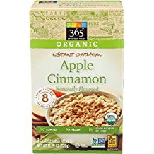 365 Everyday Value Organic Instant Oatmeal Apple Cinnamon, 1.41 Ounce, 8 Count