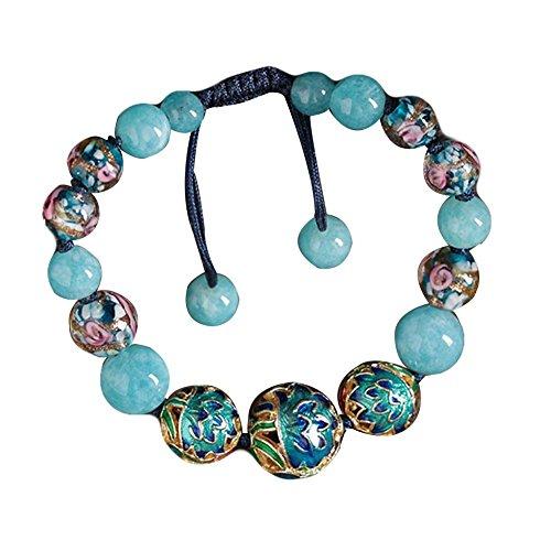 (Charm Bracelets Light Blue Cloisonné Pattern Glass Colored Glaze Bracelets)