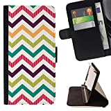 Graphic4You PAINT PALETTE CHEVRON PATTERN Thin Wallet Card Holder Leather Case Cover for Huawei Y5 II