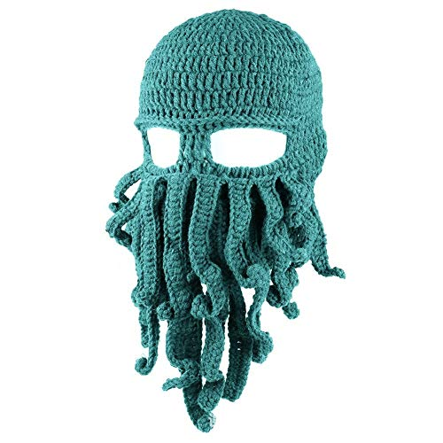 Zuozee Octopus Beanie Hat,Knit Octopus Mask Beard Balaclavas,Octopus