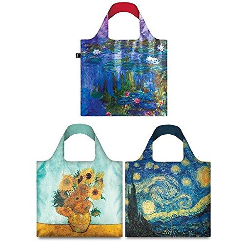 (LOQI Mixed Museum Reusable Bags (Set of 3), Van Gogh + Water Lilies)