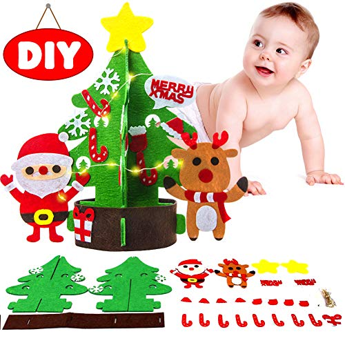 (ALOOK 1 Felt Christmas Tree Xmas DIY Ornaments Set Craft Activities Kits Decor Toy Gift for Kids)