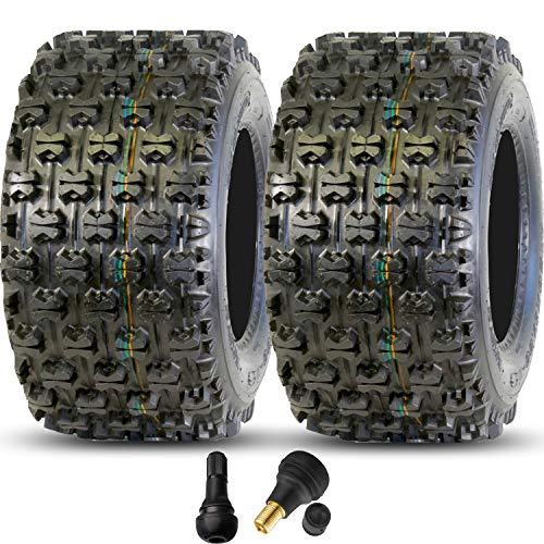 (GPS GRAVITY Bundle - Set of 2 457 20x11-9 ATV Tires, 4 Ply, Tubeless, with Valve Stems, Honda TRX 250R 250X 250EX 300 400 450 450ER)