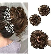SARLA 2Pcs Light Brown Messy Bun Hair Piece Synthetic Wavy Curly Scrunchies Ponytail Extension fo...