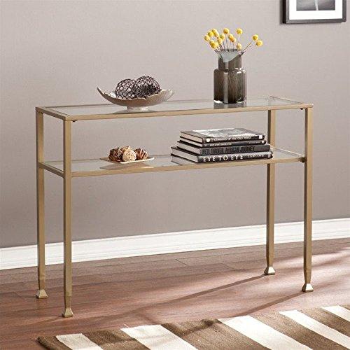 Southern Enterprises Metal-Glass Console Table in Matte Gold by Southern Enterprises