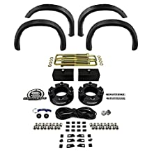 "Supreme Suspensions - Toyota Tundra Suspension Lift Kit 3"" Front with 1.5"" Rear CNC Machined Spacers + Front and Rear Bolt on Rivet Off-Road Classic Body Truck Fender Flares (Textured)"