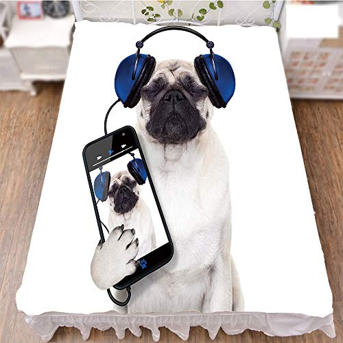 iPrint Bed Skirt Dust Ruffle Bed Wrap 3D Print,Smartphone Groovy Cool Headphones Animal Funny,Best Modern Style Bed Skirt for Men and Women by 70.9''x78.7'' by iPrint