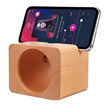 ROUHO Madera Natural Sonido Amplificador Desktop Phone Holder Soporte para iPhone xiaomi Teléfono Móvil
