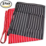 kitchen 67 bistro 2 Pack Waist Apron with One Pocket Black & Red Stripes Professional Server Apron-Long Ties Cooking Baking Half Apron for Women Men Kids Chef Bartender Waiter in Home Kitchen Restaurant Coffee shop