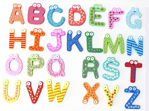 Elloapic 26 pieces Wooden Magnetic Letters Early Lrarning Educational Alphabet Refrigerator Magnets