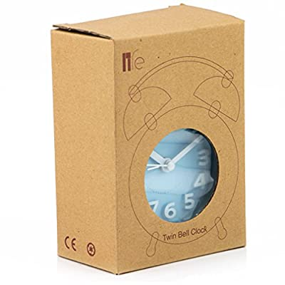 """PiLife 3"""" Mini Non-ticking Vintage Classic Bedside/Table Alarm Clock with Backlight, Battery Operated Travel Clock, Round Twin Bell Loud Alarm Clock(White)"""