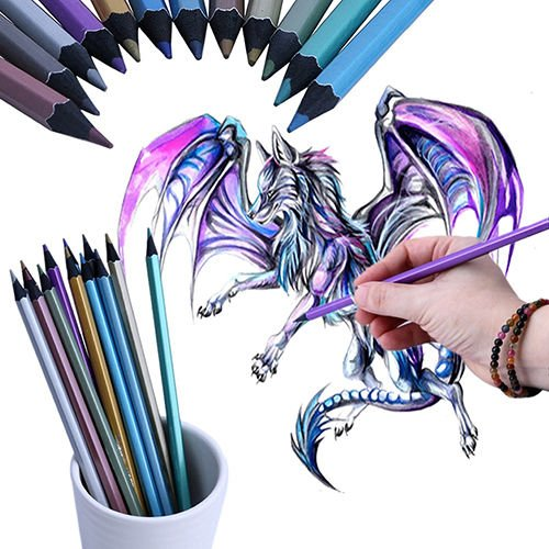12 Metallic Colored Pencil Non-toxic For Drawing Sketching Set - Wiki Shades