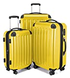 HAUPTSTADTKOFFER Luggages Sets Glossy Suitcase Sets Hardside Spinner Trolley Expandable (20'', 24'' & 28'') TSA (3 pcs/20''24''28'', Alex Yellow)