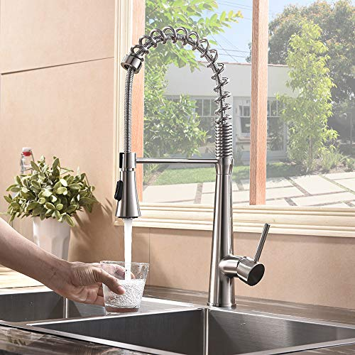 Hotis Commercial Stainless Steel Single Handle Pull Down Sprayer Spring Brushed Nickel Kitchen Faucet, Kitchen Sink Faucet by HOTIS HOME (Image #4)