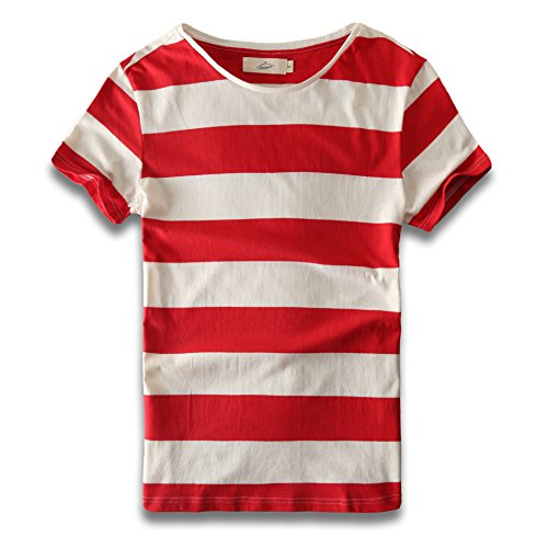 Zecmos Mens Stripes T-Shirts Casual Slim Fit Tshirts Striped Tees Top 279-Red XXXL ()