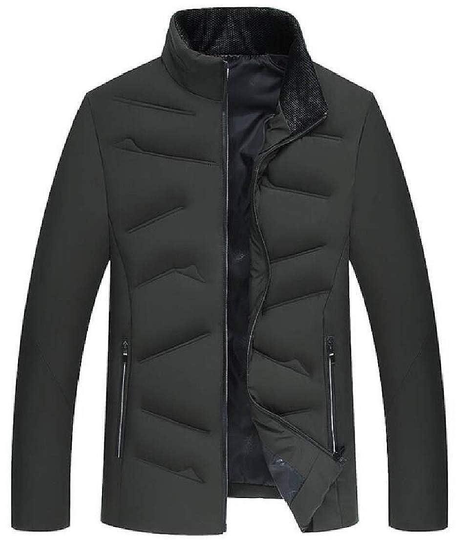 XiaoTianXinMen XTX Men Stand Collar Full Zipper Outwear Winter Quilted Down Jacket