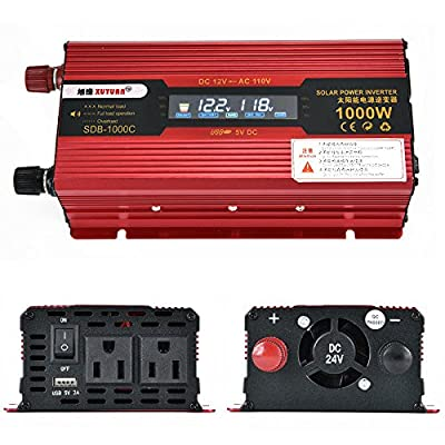 1000W DC 24V to AC 110V Portable Car LCD Power Inverter WATT Charger Converter
