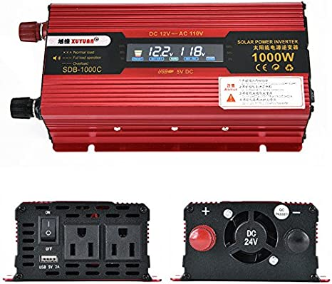 600W//3000Watt Power Inverter DC12V//24V To AC110V Convert Charger Camp US Plug