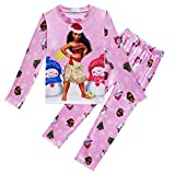 AOVCLKID Little Girls Moana Pajamas Sets for Kids Clothes Toddler Long Sleeve Christmas Sleepwear (Pink,110/4-5Y)