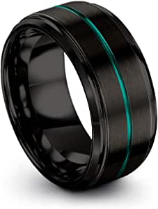 Chroma Color Collection Tungsten Carbide Wedding Band Ring 10mm for Men Women Green Red Fuchsia Copper Teal Blue Purple Black Center Line Step Bevel Edge Black Brushed Polished