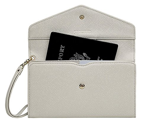 Krosslon Travel Passport Holder Rfid Blocking Tri-fold Wallet Document Organizer Bag with Wristlet, 204# Mist Grey
