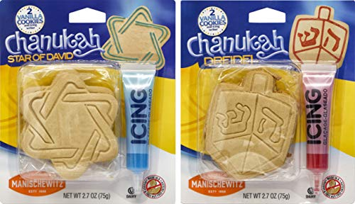 Hanukkah Design Your Own Chanukah Cookies Decorating Kit - Dreidel Or Star Of David Cookies - Assorted - Icing Included, Dairy