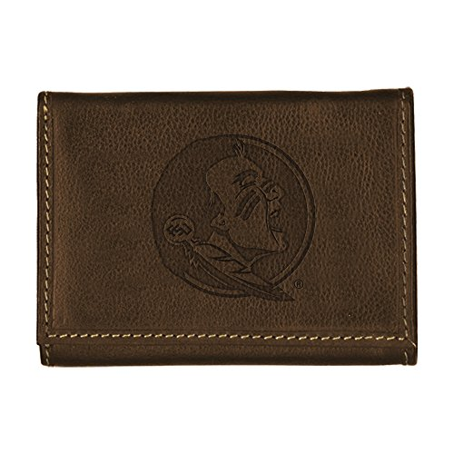 Florida State University Contrast Stitch Trifold Leather Wallet (Brown)