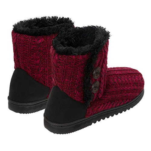 Dearfoams Damen Memory Foam Sweater stricken Indoor / Outdoor Bootie Hausschuhe rot