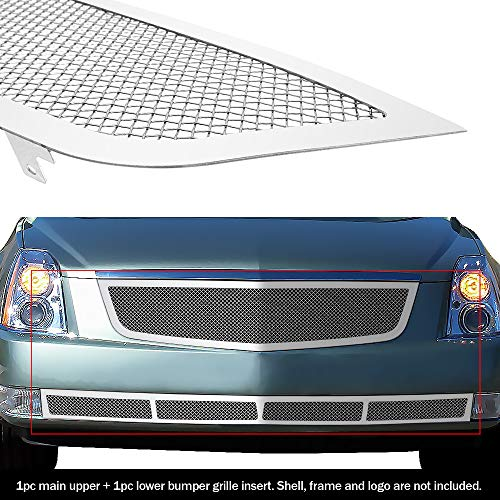 APS Compatible with 2006-2011 Cadillac DTS Stainless Mesh Grille Grill Combo Insert A71072T