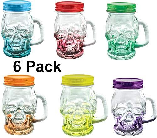 Shot Glasses sugar skull Set of 6 Mason Jar with Lid and Handle – Novelty Shot Glass 3 oz
