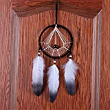 New Gossip Black White Dream Catcher Net with Feathers Wood Bead Dream Catcher Car Ornament Home Decoration Gift Black