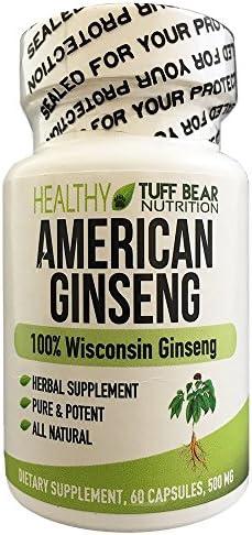 TUFF BEAR American Wisconsin Ginseng Capsules, 500mg 60 Capsules