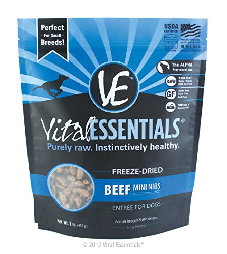 Vital Essentials Freeze-Dried Beef Mini Nibs Grain Free Limited Ingredient Dog Entrée, 1 Pound Bag