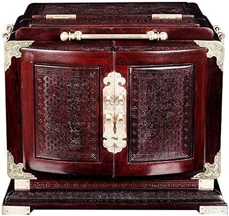 FEE-ZC Hermoso joyero, Caoba Natural, Almacenamiento de Joyas, Madera Maciza, tocador, Caja de Tesoros, cajones, Caja de Reloj, Caja de Regalo de joyería para Mujer