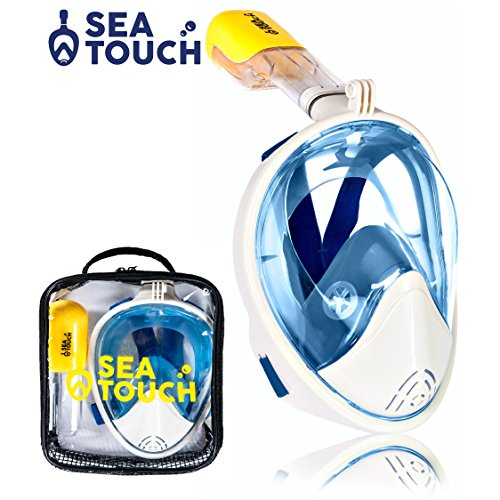 Premium Quality SeaTouch Snorkel Mask Full Face with Bag 180° Panoramic View Anti Fog Anti Leak Best For Adult Youth Diving Mask Go Pro Mount Full-face Easybreath Snorkel Set Snorkeling Gear