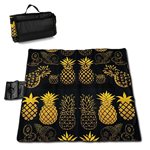 TARDIGA Gold Pineapple Clipart Extra Large Picnic Blanket 57